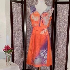 Elie Tahari Orange an purple sleeveless dress.